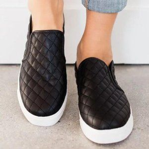 Shoes - THIS IS IT QUILTED SLIP ON SNEAKERS-BLACK